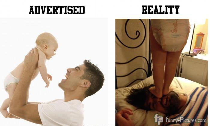 Life with a baby, advertised an reality